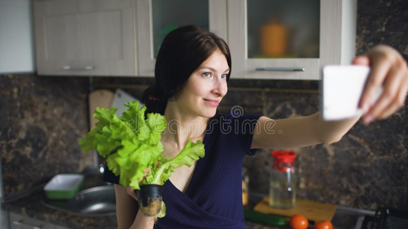 Funny woman housewife shoot selfie with green salad while cooking in the kitchen at home indoors stock image