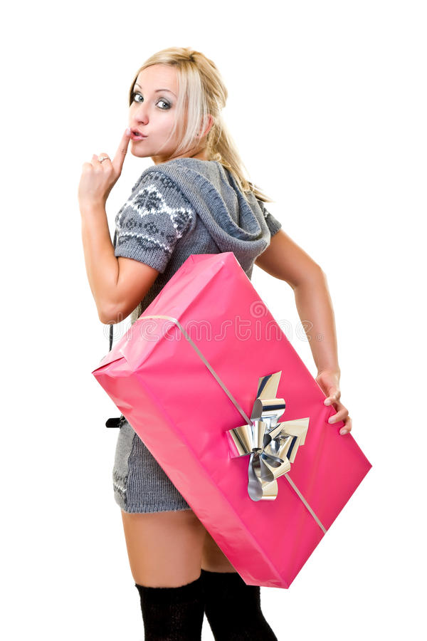 Funny Woman With Huge Pink Christmas-box Royalty Free Stock Image