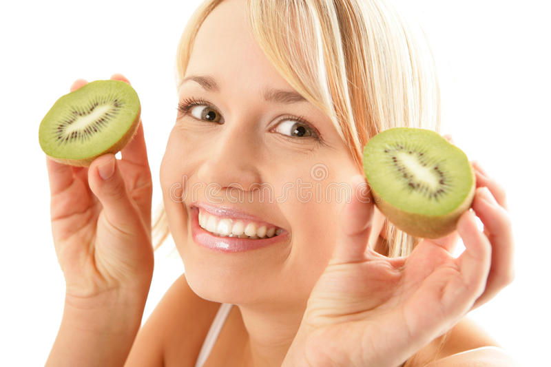 Funny woman with kiwi royalty free stock image