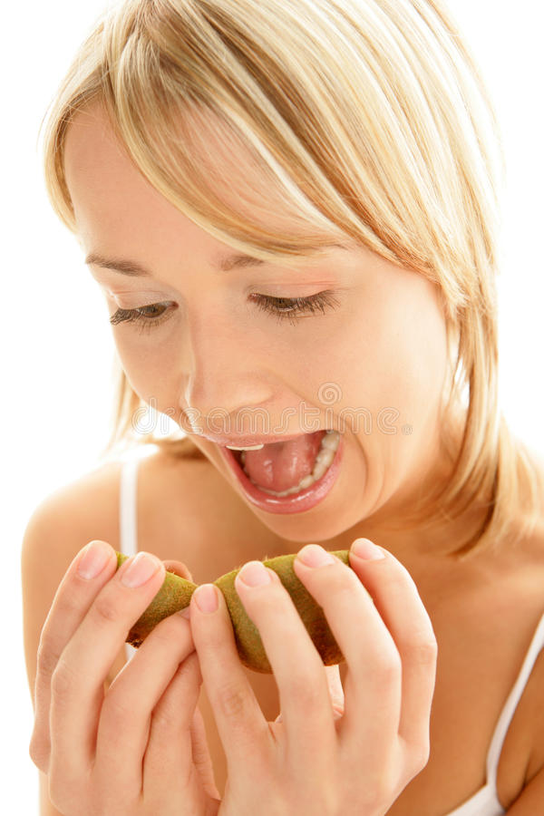 Funny woman with kiwi royalty free stock photo