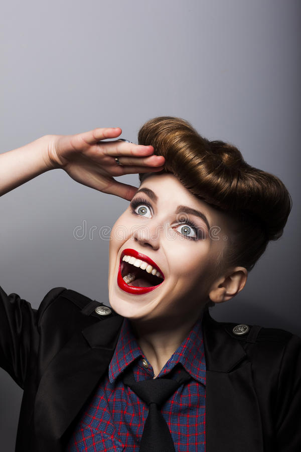 Download Funny Woman In Retro Style - Trendy Hairstyle Stock Image - Image: 27624509