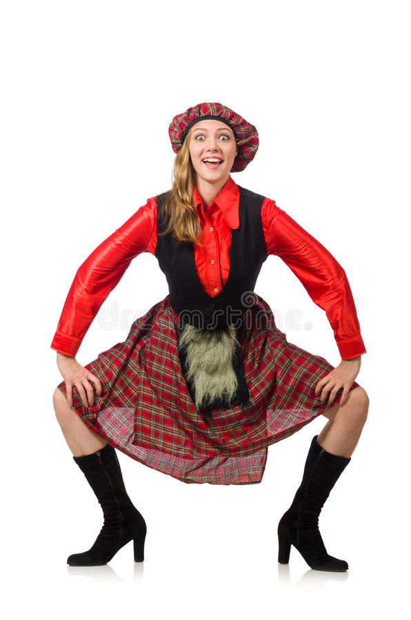 The funny woman in scottish clothing on white. Funny woman in scottish clothing on white stock photos