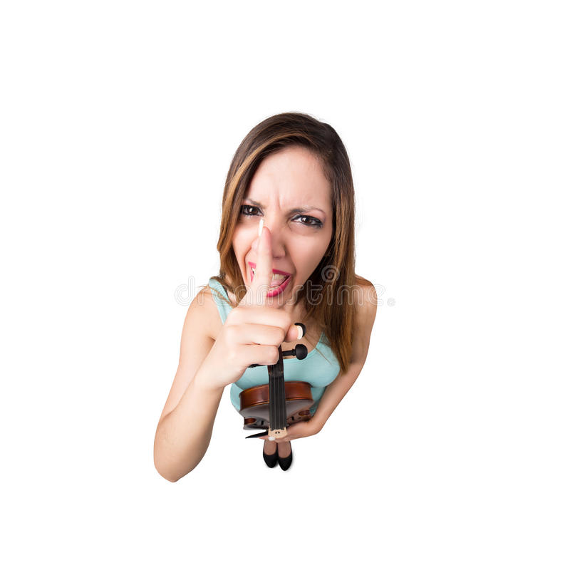 Funny woman with violin say shut up. Funny angry woman with violin say shut up stock photo
