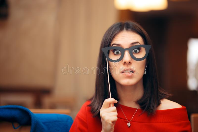 Funny Woman Wearing Party Mask Accessory stock photo