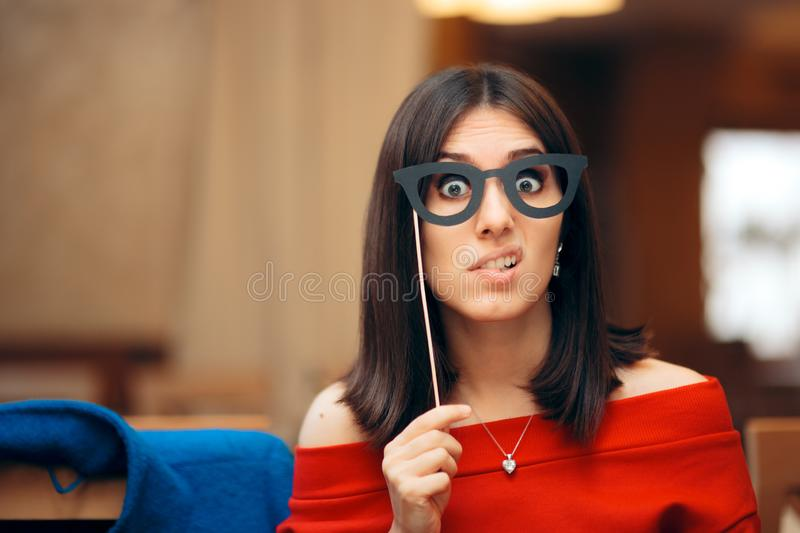 Funny Woman Wearing Party Mask Accessory stock photography