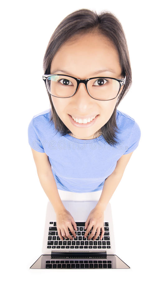 Free Funny Woman Working On A Computer Stock Photo - 36286190
