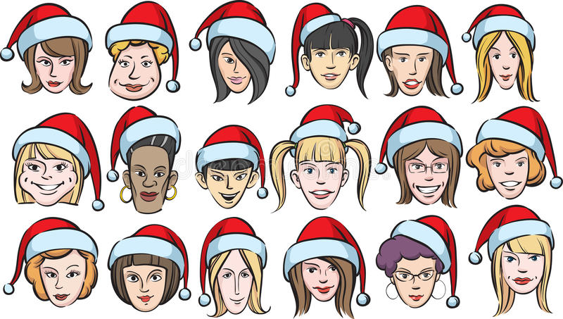 Funny women faces with santa hats vector illustration