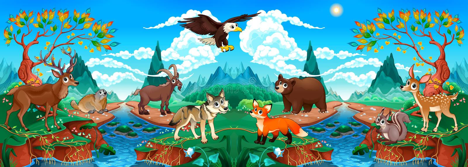 Funny wood animals in a mountain landscape with river stock illustration