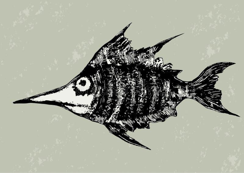 Funny woodcut fish illustration vector illustration