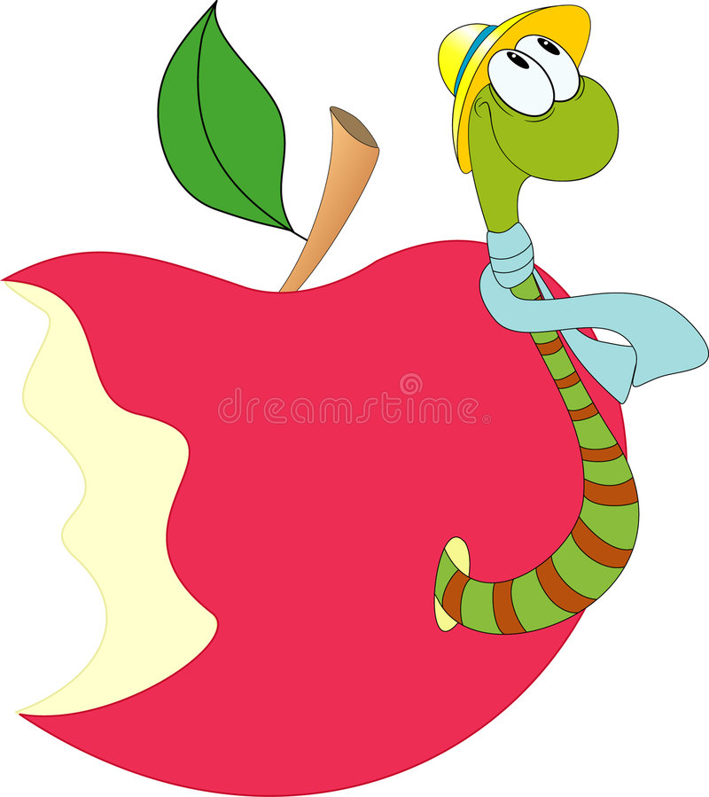 Funny worm and apple vector illustration