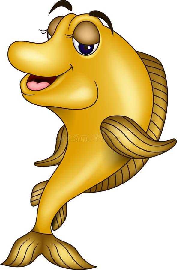 Funny Yellow Fish Cartoon Stock Photo
