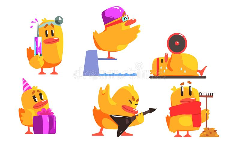 Funny Yellow Humanized Chicken in Various Situations Set, Cute Bird Cartoon Character Activity Vector Illustration. On White Background royalty free illustration