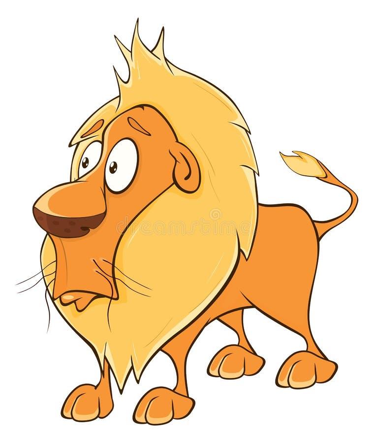Funny yellow lion cartoon stock illustration