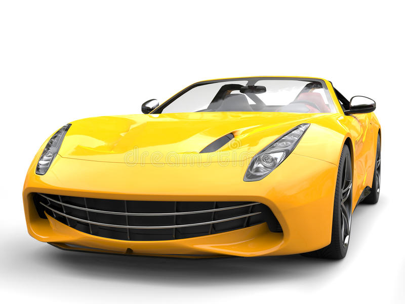 Funny yellow modern sports car - front view closeup shot stock illustration