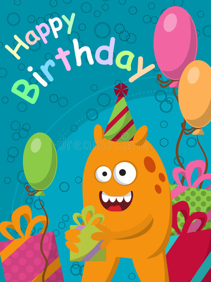 Funny yellow monster with gifts and balloons. Postcard. Happy Birthday. Vector stock illustration
