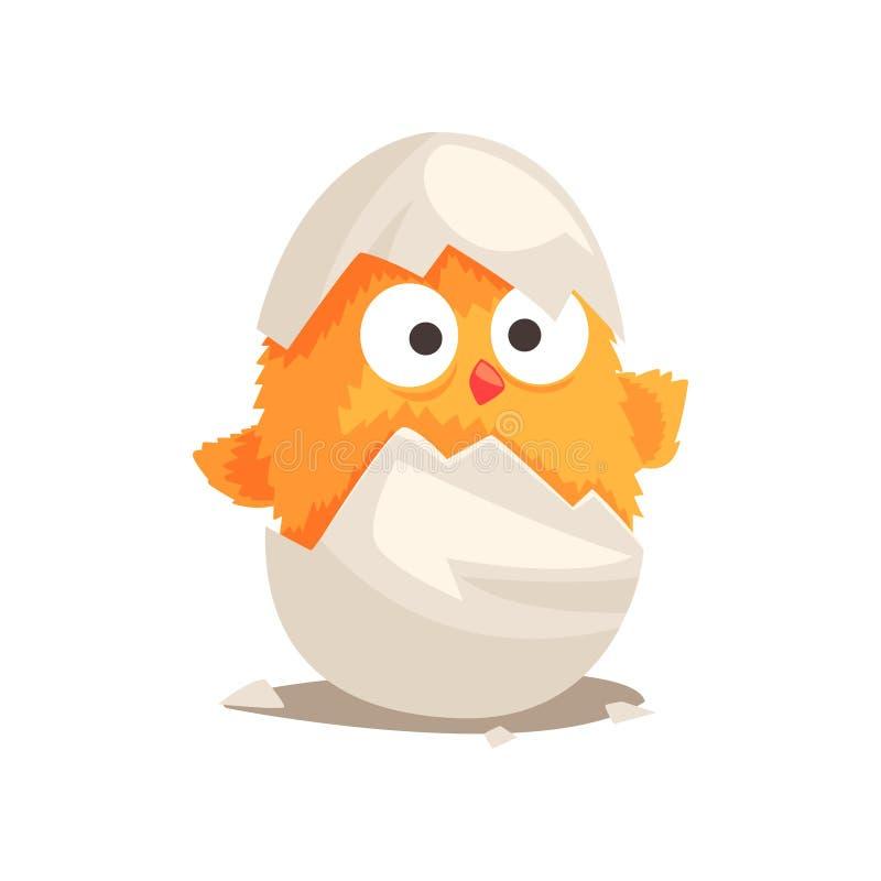Funny yellow newborn chicken in broken egg shell stock illustration