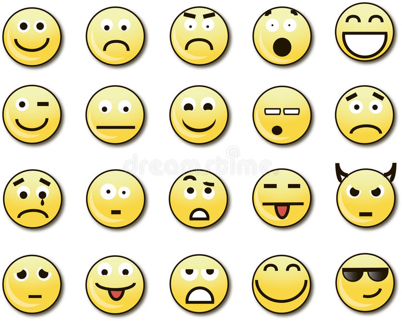 20 Funny Yellow Smileys Stock Vector Illustration Of Moods 58152667