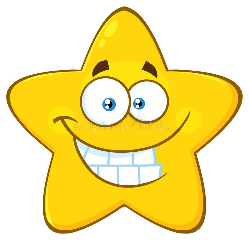 Funny Yellow Star Cartoon Emoji Face Character With Smiling Expression. Illustration Isolated On White Background royalty free illustration
