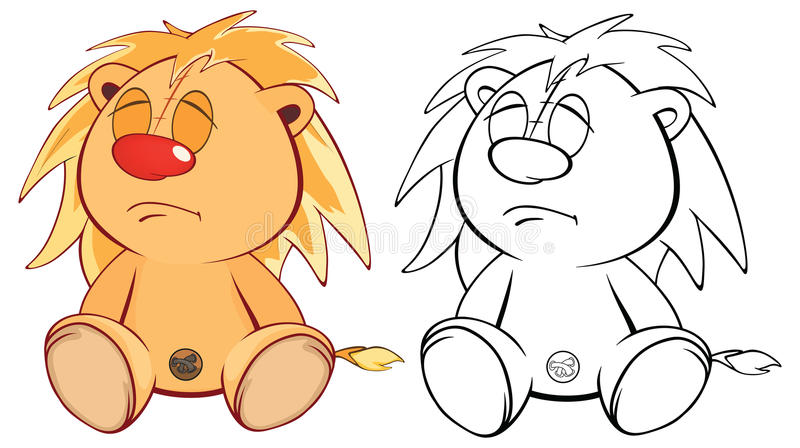 Funny yellow young lion cartoon. Coloring page stock illustration