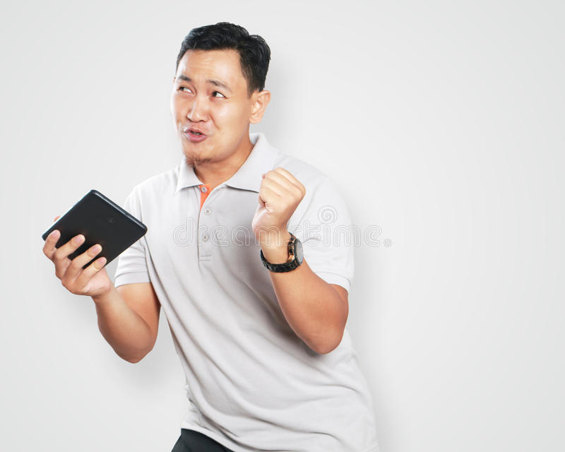 Funny Young Asian Guy Dancing stock photos