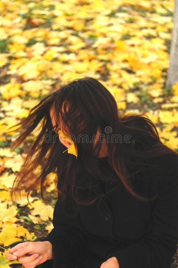 A funny young attractive girl has fun and fooling around in an autumn park. Cheerful emotions, autumn mood.  royalty free stock photography