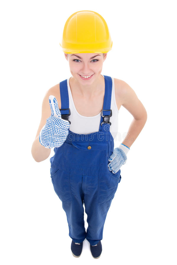 funny young attractive woman builder in workwear thumbs up isolated on white royalty free stock photos