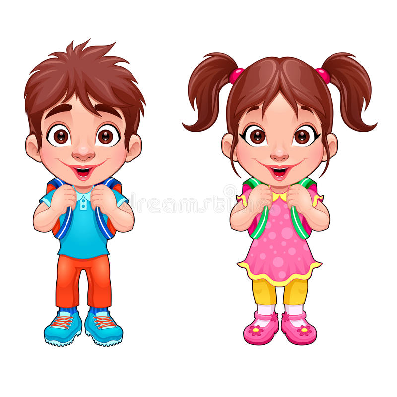 Funny young boy and girl students royalty free stock image