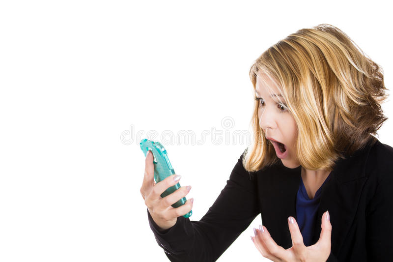 Funny young businesswoman reading bad news text message royalty free stock images