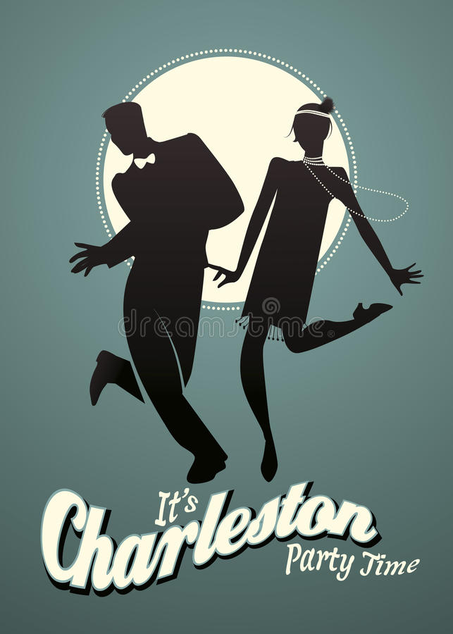 Funny young couple dancing Charleston royalty free illustration