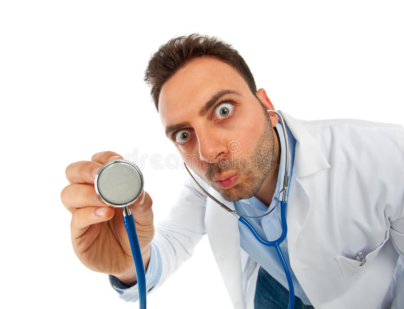 Funny young doctor man with stethoscope stock photo