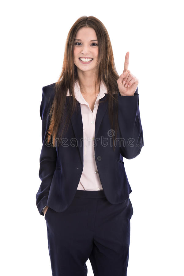 Funny young isolated businesswoman in suit showing something wit stock photos