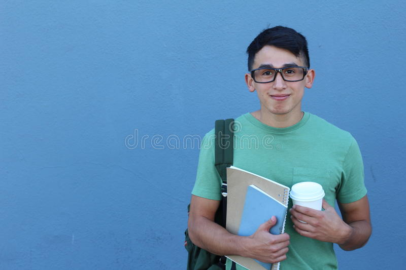 Funny Young Man in Glasses - Stock image with Copy Space royalty free stock image