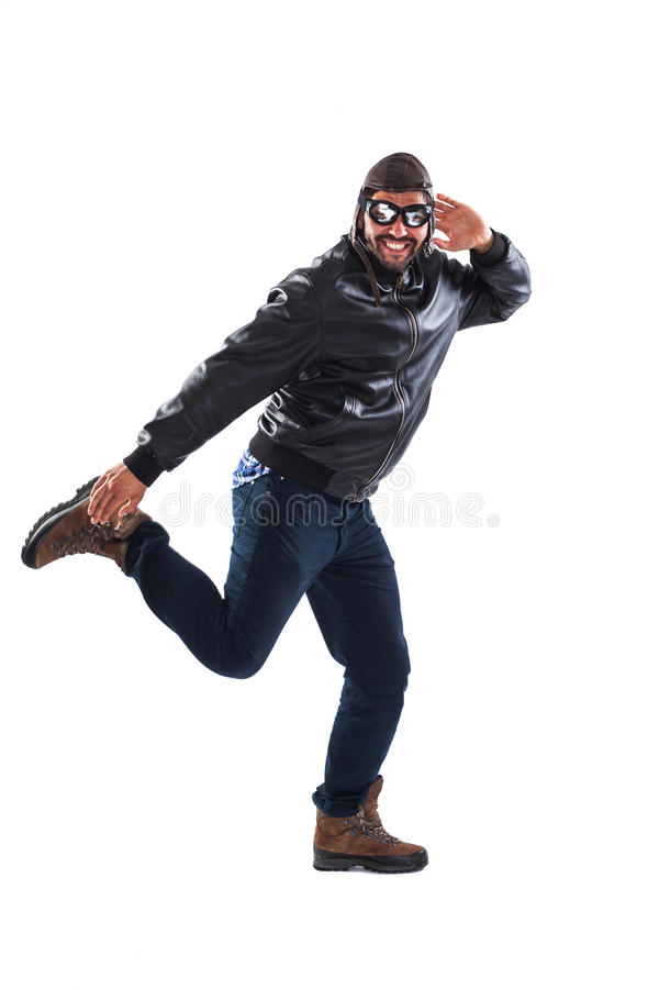 Funny Young Man Posing As A Pilot Stock Photo