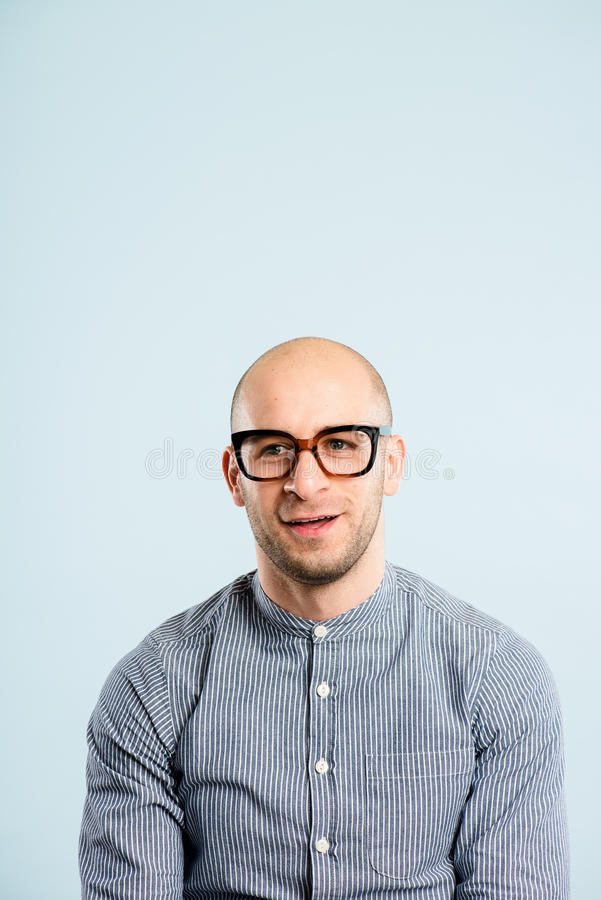 Funny man portrait real people high definition blue background stock photos