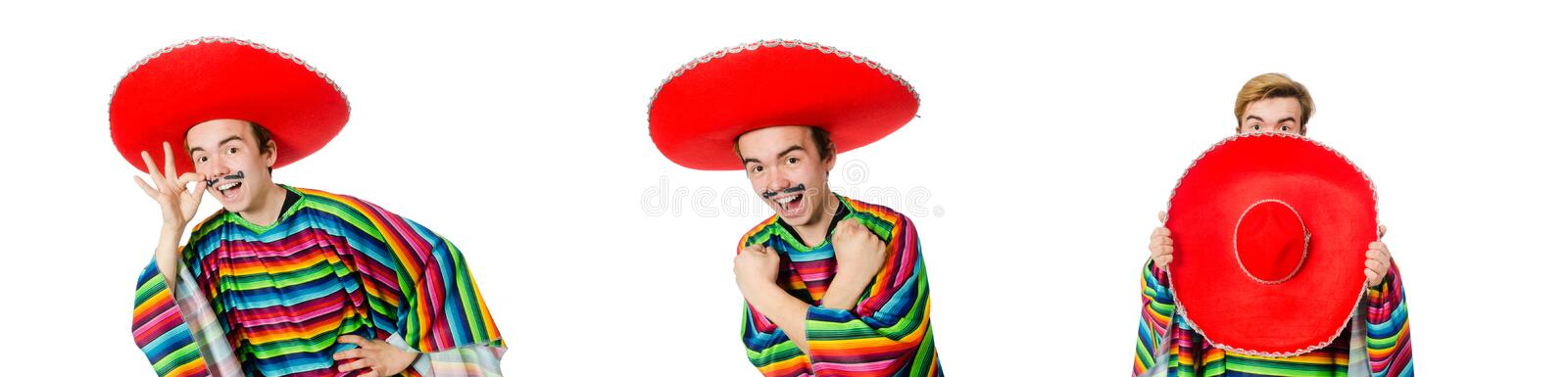 The funny young mexican with false moustache isolated on white royalty free stock photos