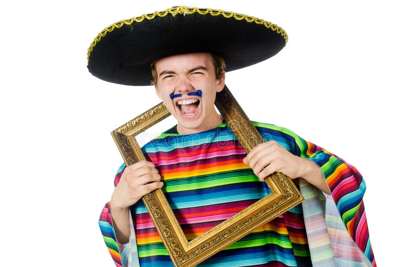 Funny young mexican with photo frame isolated on royalty free stock image