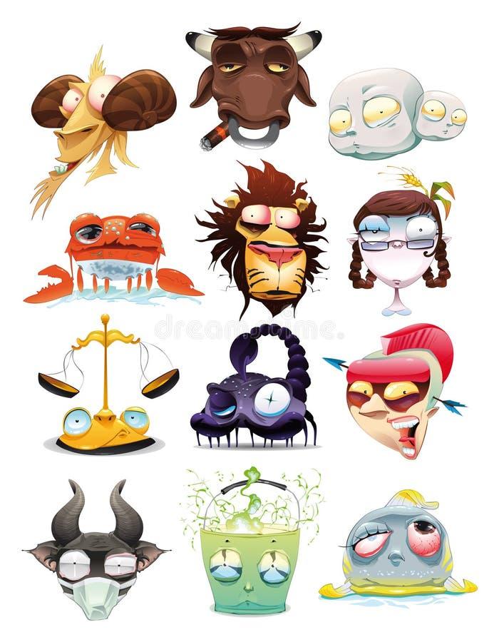 Funny Zodiac. Cartoon and illustration, isolated objects