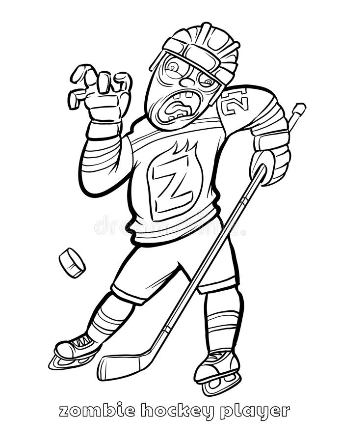 Coloring Page Of A Hockey Player. Download Funny Zombie Hockey Player Coloring Page Stock Vector  Illustration of skating full