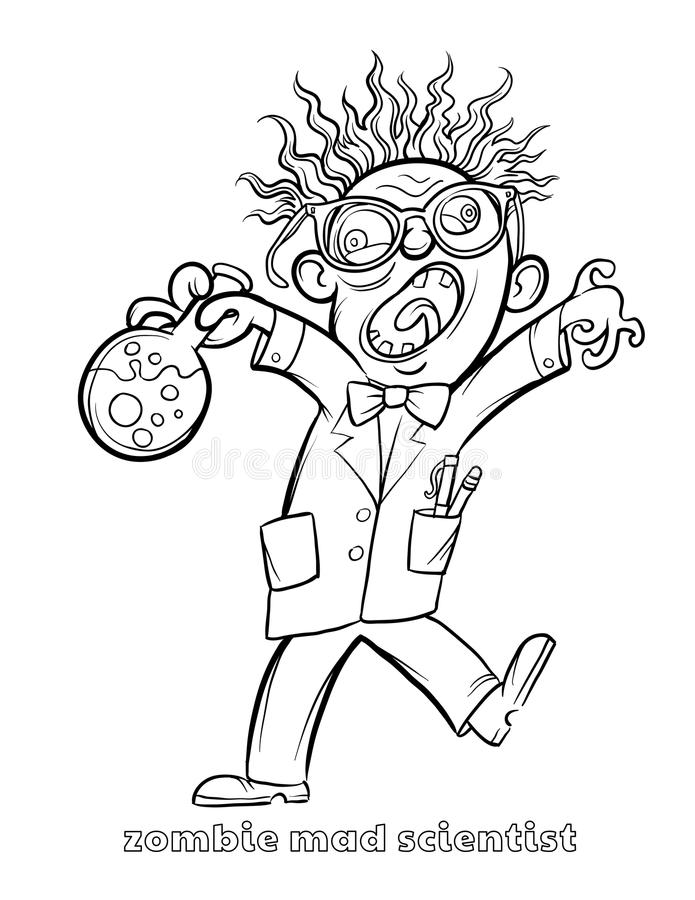 Funny Zombie Mad Scientist Coloring Page Stock Vector - Illustration ...