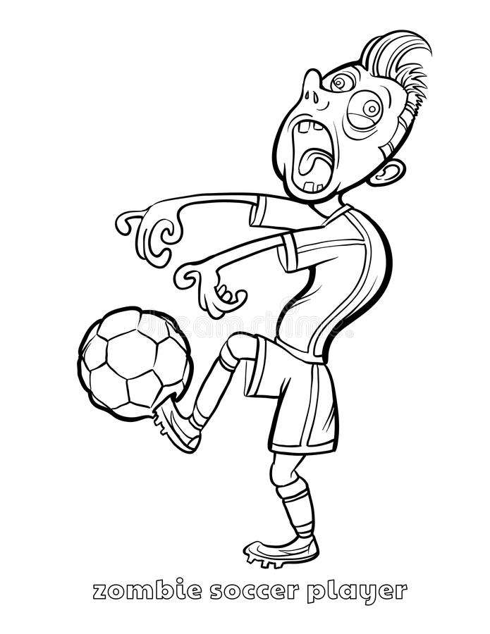Funny Zombie Soccer Player Coloring Page Stock Vector Illustration