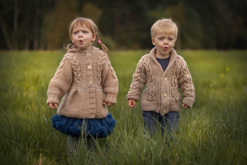 Funny Zwillinge Junge und Mädchen lizenzfreies stockfoto