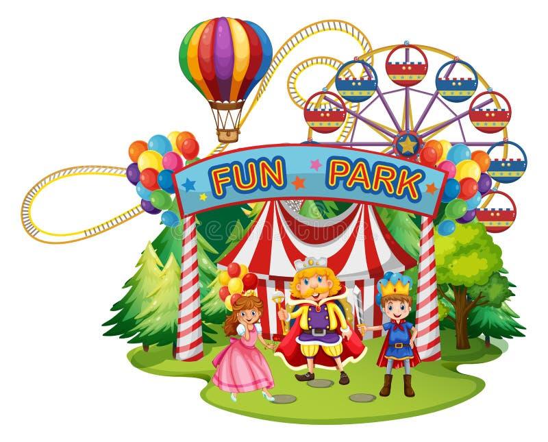 Funpark avec des personnes dans des costumes illustration libre de droits