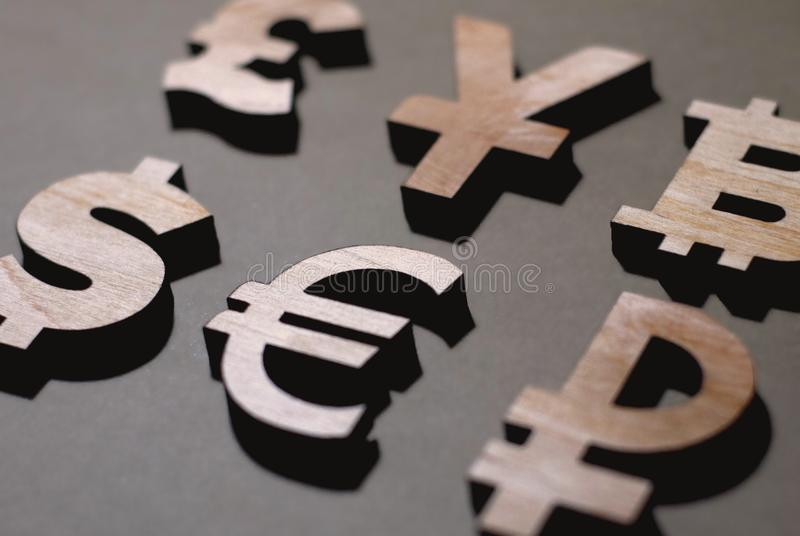 Funt, jen, dolar, euro rubel obrazy royalty free