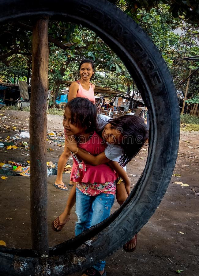 Funtime with the kids. Talisay City, Cebu, Philippines royalty free stock photography