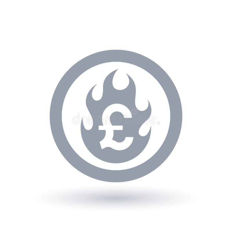 Funtowa płomień ikona - Pożarniczy płonący Brytyjski waluta symbol royalty ilustracja