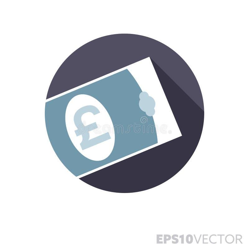 Funtowego Sterling rachunku płaskiego projekta cienia koloru wektoru długa ikona ilustracja wektor