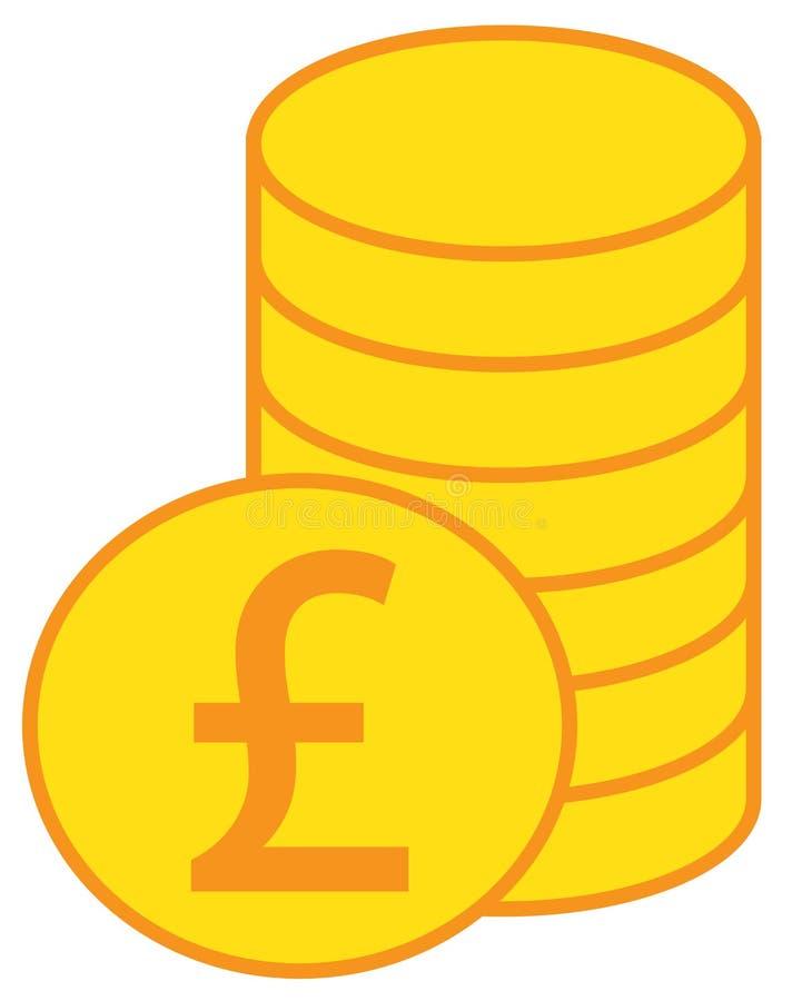 Funtowego Sterling waluty logo nad stosem monety sterta lub ikona royalty ilustracja