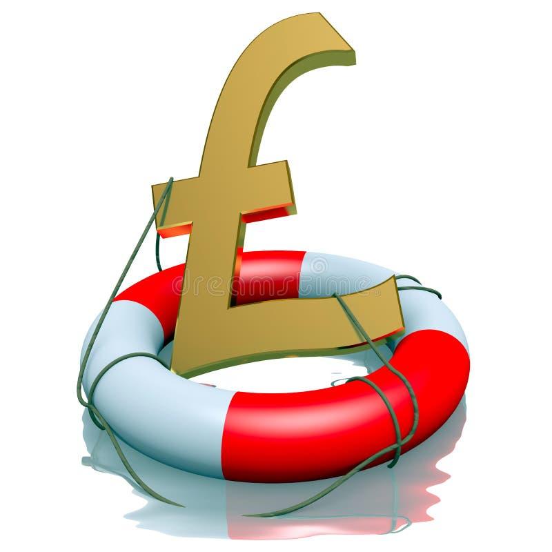 Download Funtowi Sterlings Symbolu W Lifebuoy Ilustracji - Ilustracja złożonej z kryzys, wymiana: 28973956