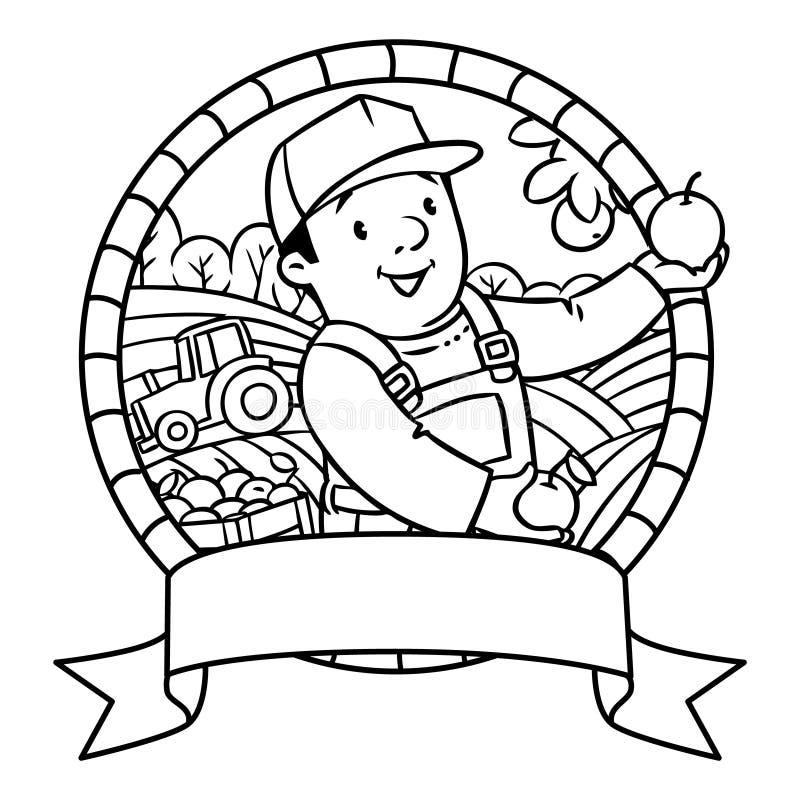 Funy bonde eller trädgårdsmästare för färgläggningdiagram för bok färgrik illustration emblem vektor illustrationer