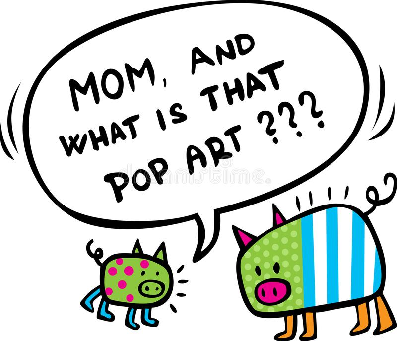 Funy design med två pop Art Pigs - vektorillustration royaltyfri illustrationer